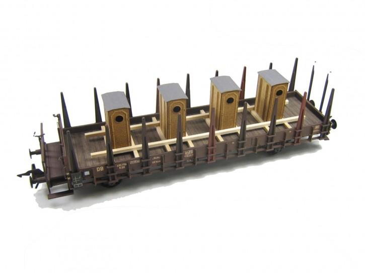vier Bremserhäuser im Transportgestell