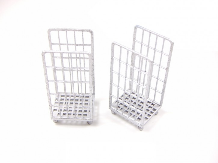2x Rollcontainer, silber