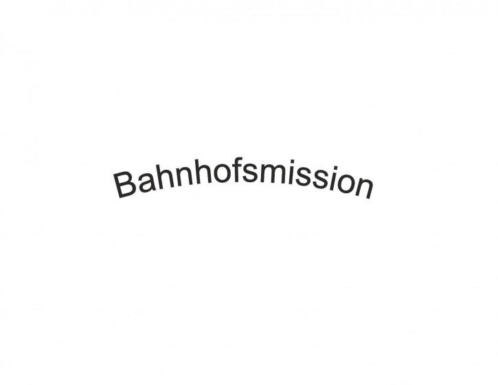 Schriftzug schwarz, Bahnhofsmission